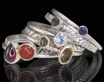 Gemstone Chakra Stack Rings - Set of 7 Rings - 925 Sterling Silver, Multi Gemstone Stacking Rings - US Size 7 1/4 (O) #B056