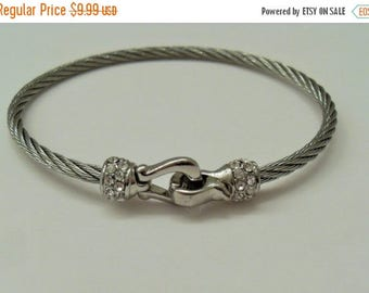 CLEARANCE Silver Wire Crystal Bangle Bracelet crystal rhinestones Magnetic Clasp retro fashion accessory Silver bracelet gift  Gingerslittle