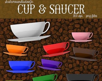 80% OFF SALE Cup and Saucer Clipart, Coffee Clipart, Tea Beverage Diner Restaurant Clipart, 300 dpi Png file, coffee cups clipart graphics,