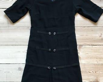 1950s 1960s Wool Georgette Dress - XS