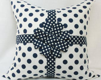 "Navy blue & creme decorative throw pillow cover with ribbon and bow. 18' x 18"" children's/girl's/nursery pillow."