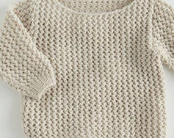 Cotton pullover baby birth in 24 months hand-made knitting(sweater) openwork stitches