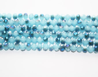Crystal Glass beads, Blue Crystal Beads, Rondelle Beads - 6mm - 75 Beads - #D201