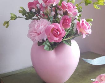 Valentine's Flowers, Pink Flowers in Vase, Pink Vase, Faux Flowers, Heart Vase, Pink Flower Arrangement, Home Decor, Artificial Flowers