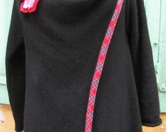 Black alpaca and wool coat shape long vest