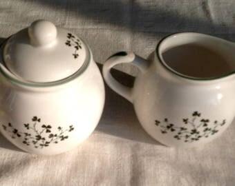 Vintage ceramic Shamrock sugar creamer set