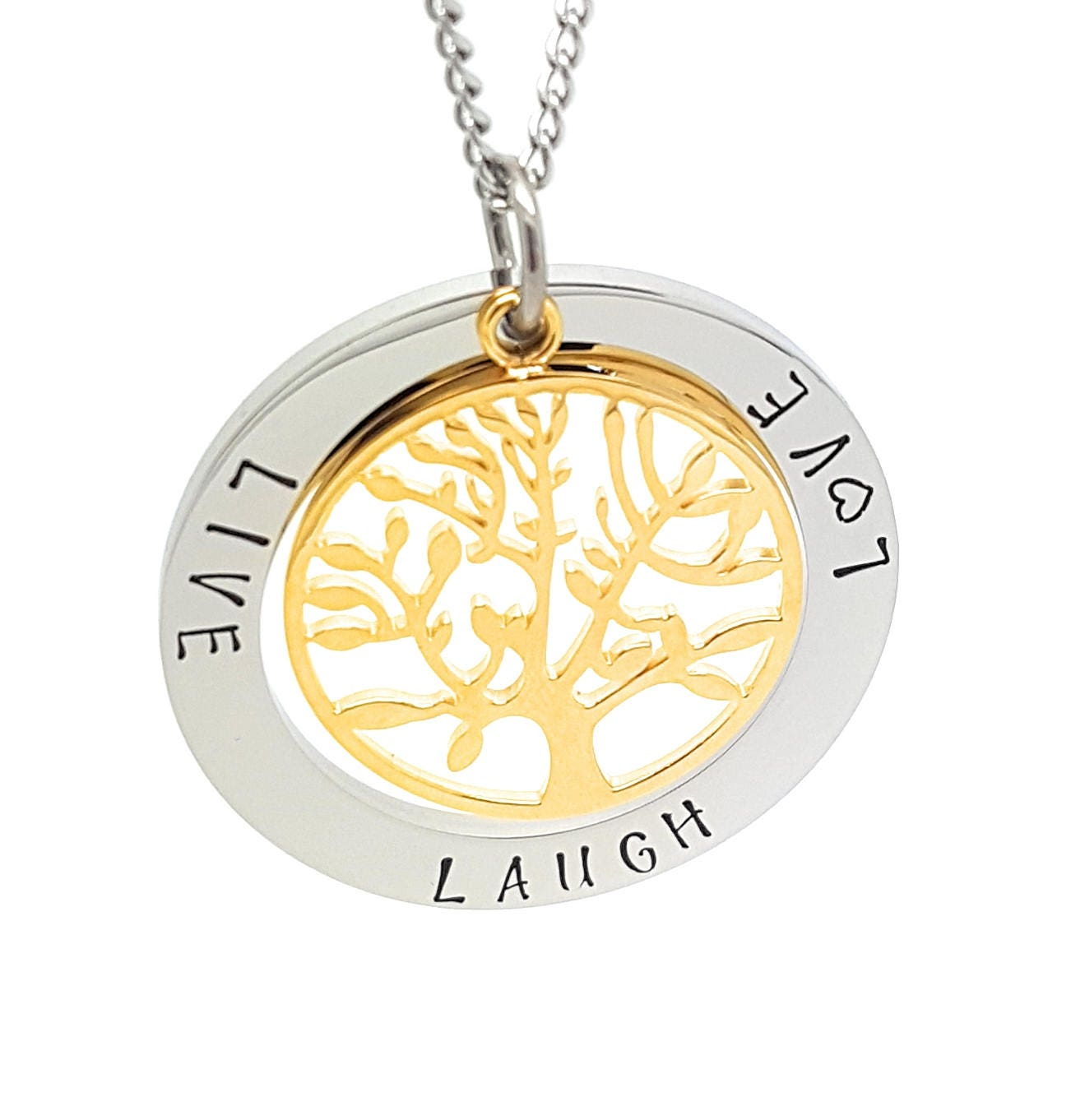 Coorabell crafts live laugh love pendant with silver circle and shipping buycottarizona