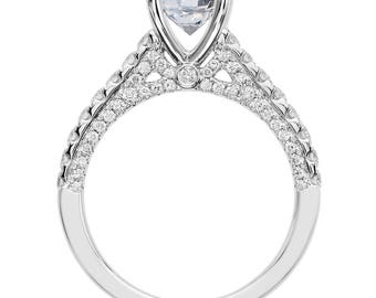 Moissanite Engagement Ring 1.20ct Round Forever One Ring .50ct Natural Diamond Ring 18k white gold Wedding Ring Pristine Custom Rings