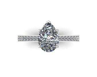 Pesr Shape Ring 1.50ct Colorless Forever One Moissanite Engagement Ring .26ct Natural Diamonds Platinum Anniversary Pristine Custom Rings