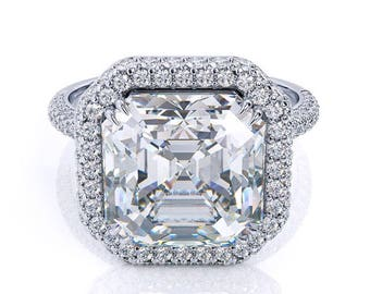 Forever One Moissanite Asscher Cut Engagement Ring3.14ct Moissanite Center .65ct Genuine Diamonds Vintage Deco Style  Pristine Custom Rings