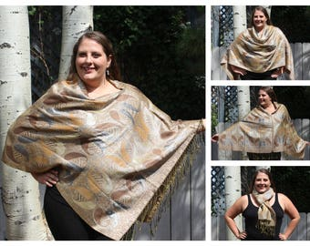 Gold and Silver Metallic Paisley Pashmina Poncho Shawl