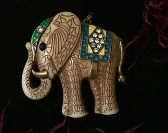 Vintage lucky carved elephant pendant ornament accented with jewels and brass