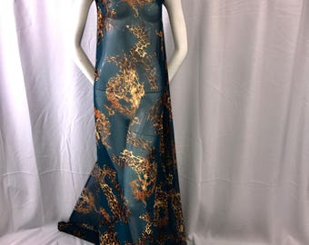 Leopard and damask print on a teal chiffon-apparel-fashion-nightgown-dresses-decorations-scarfs-sold by the yard.