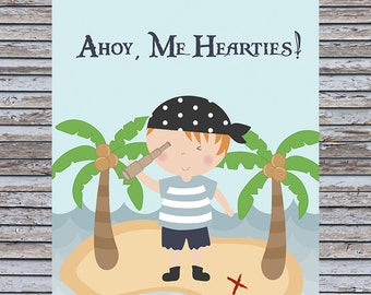 Pirate Wall Art Print 8x10 - Ahoy, Me Hearties!