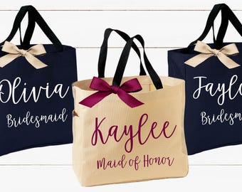 Personalized Bridal Tote Bag, Bridesmaid Tote Bag, Maid of Honor Tote Bag, Monogrammed Tote Bag (BR050)