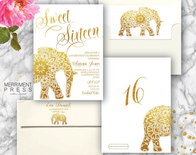 Indian themed Sweet Sixteen Invitation // Bollywood // Elephant // Paisley // Gold / 16 / Mehndi / Birthday Invitation // JAIPUR COLLECTION