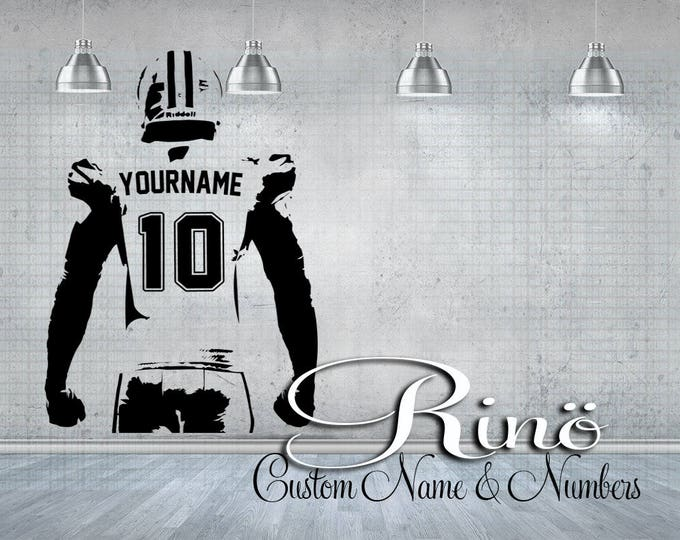 Football Wall Decal - Custom Football Wall art - Choose NAME & NUMBERS personalized Large Player jersey Vinyl sticker decor kids boy bedroom