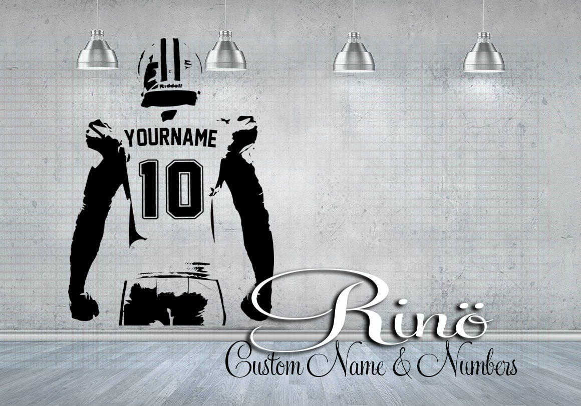 Football wall decal custom football wall art choose name football wall decal custom football wall art choose name numbers personalized large player jersey vinyl sticker decor kids boy bedroom amipublicfo Gallery