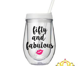 50th Birthday Gift For Woman, 50th Birthday Wine Glass, 50th Birthday Gift Wine Tumbler