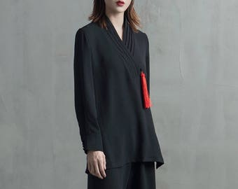 Lost in Kyoto Collection black japanese modern style mixed top and pants