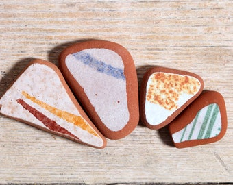 Sea Pottery / 4 pieces / Italian Genuine Patterned Sea Tiles for Collection, Beach Pottery for Jewelry and Mosaic (sp-0004-18)