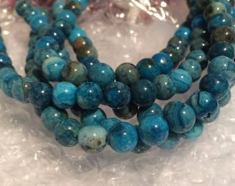 "20% OFF SALE Dakota Stones - 10mm Round Blue Crazy Lace Agate Beads - 8"" Strand"