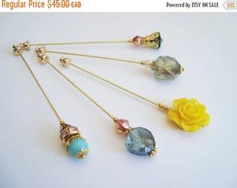 15% OFF SALE Peacock Blue Yellow Green Hijab Pins Set- Stick Pins / Hat Pins / Decorative Pins / Eid Gifts / Bridal Gifts