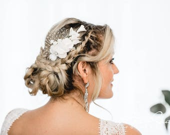 N11 Bridal Veil, wedding hairstyles, Bohos, bridal hairstyles, hair ornaments, comb, bridal headpieces, Fascination, vintage, ivory
