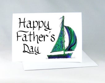 Happy Father's Day, Sailboat Art Card, Father's Day Boat Card, Dad is Best, Best Dad Card, Sailor Father Card, Father Card, Dad Card, 1097