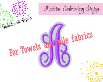 VINE MONOGRAM, Embroidery Font Design, for terry towels and plush fabrics, 1 and 2 inch, All letters,includes bx, #881