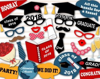 Instant Download Graduation Photo Booth Props, 2018 Graduation Photobooth Props, Graduation Photobooth Printable Graduation Party Props 0167