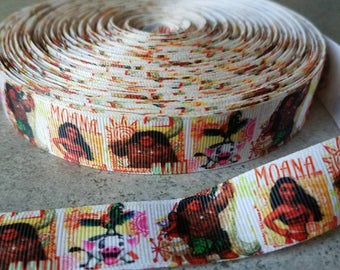 Moana 7/8 inch ribbon. Moana grosgrain ribbon.