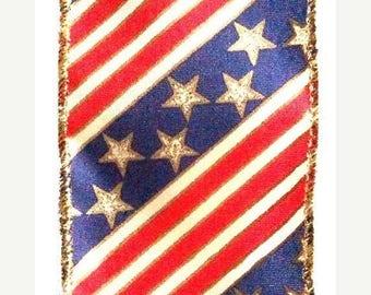 "SALE 2.5""x10yds patriotic ribbon, Stars and Stripes ribbon, star ribbon, stars ribbon, Stars and Stripes ribbon, patriotic wired ribbon"