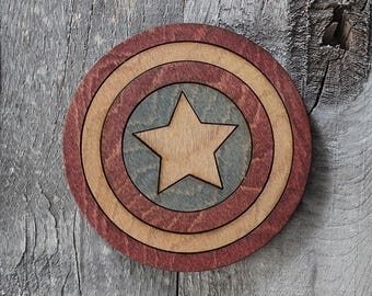 Captain America Coaster | Rustic/Vintage | Hand Stained and Glued | Comic Book Gift | Shield