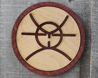 FLCL Atomsk Wood Coaster | Rustic/Vintage | Hand Stained and Glued | Gainax | Fooly Cooly | Pirate King