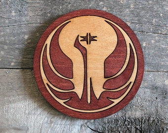 Old Republic Wood Coaster | Rustic/Vintage | Hand Stained and Glued | Comic Book Gift | Star Wars