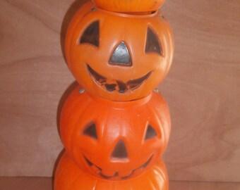 Vintage Halloween blow mold Jack o lantern candy buckets set 4 graduated sizes