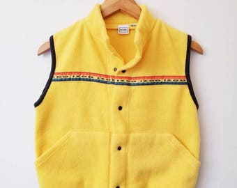 80s IZOD Bright Yellow Cotton Vest