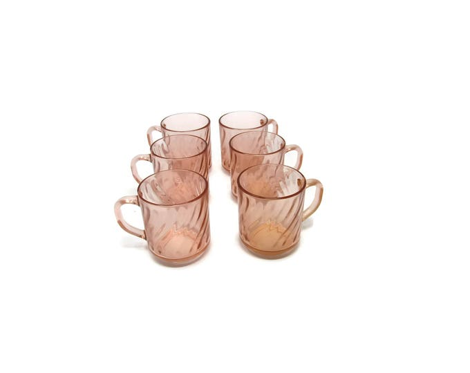 Vintage Rosaline Pink Swirl Arcoroc Durand Coffee Mugs, Set of 6, 1980 Mid Century Dinnerware, Glass Barware, Vintage Kitchen