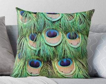 Peacock Decor, Peacock Cushion, Peacock Pillow, Peacock Feathers, Feather Pillow, Feather Decor, Feather Cushion, Blue Green Pillow