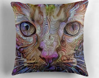 Psychedelic Decor, Pychedelic Pillow, Cat Throw Pillow, Orange Cat Cushion