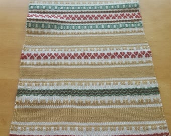 Scandinavian multi color hand woven table runner in cotton and linen from Sweden 1950s.