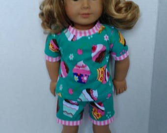 "18"" doll pajamas made to fit like American girl doll clothes, cupcake pajamas, cute pajamas for dolls such as American girl and others"