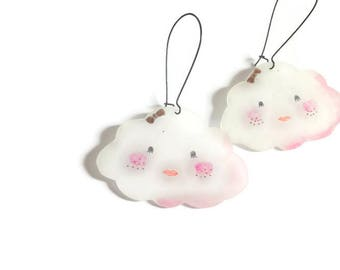 Lady in the clouds earrings. Kawaii style