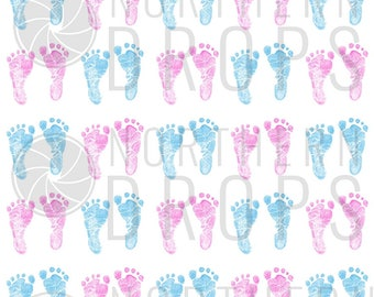 Photography Backdrop - Blue and Pink Footprints - Footprint pattern printed background - Gender reveal party photo backdrop