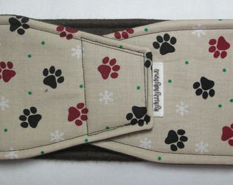 Male Dog Belly Band - Paws w Snowflakes on Tan (#57)