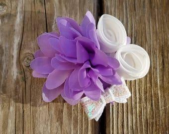 Lavender Hair Flower/Baby Headband/Baby Girl Headband/Baby Girl Hairclip/Baby Hairclip/Lavender Headband/Flower Headband/Girls Hairbows