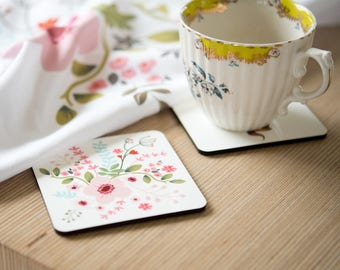 Floral Coaster Set, 4 coasters tied with pink ribbon, Gift for Mum, Mother's Day, Flower Gift, 95mm, Cork Base (OHSO965)