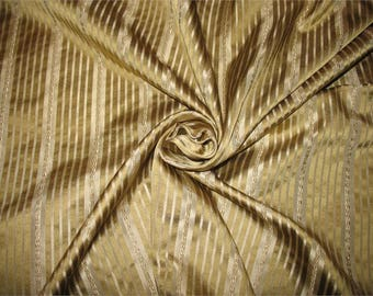 Zazu's Collection - 100% Pure Satin Silk Stripe Fabric - Gold & Platinum