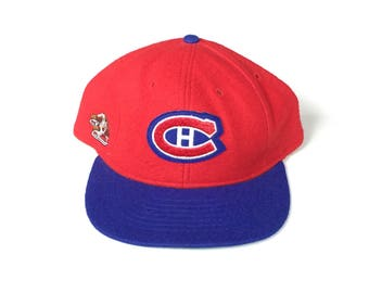 80s ROMAN montreal canadiens fitted fleece hat size 7 3/4  Snapback Snap back Strapback hat One Size Adult Unisex twill